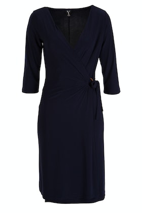 Y 3/4 Sleeve Cross Over Dress