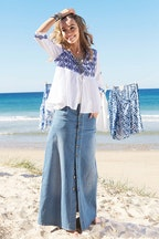 boho bird Dusty Footprints Button Skirt