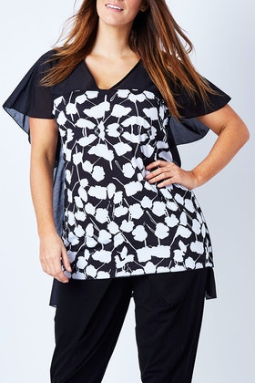 Boo Radley Leaf Print High Low Tee