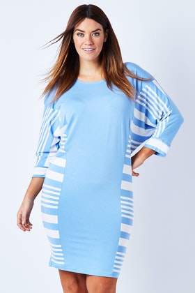See Saw Stripe Batwing Dress