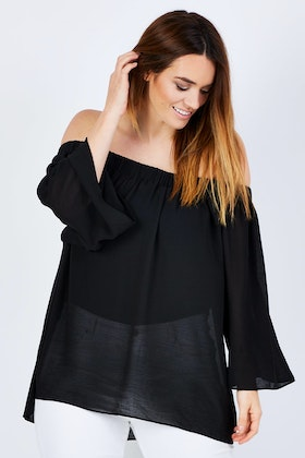 Wite Cold Shoulder Top