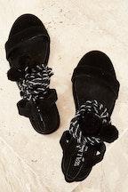 Walnut Pom Pom Flat Sandal