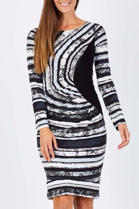 Very Very Dali Drape Front Stripe Dress