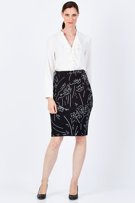 Layer'd Print Ponti Pencil Skirt