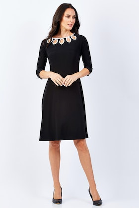 Y 3/4 Sleeve Dress With Cut Out Neckline