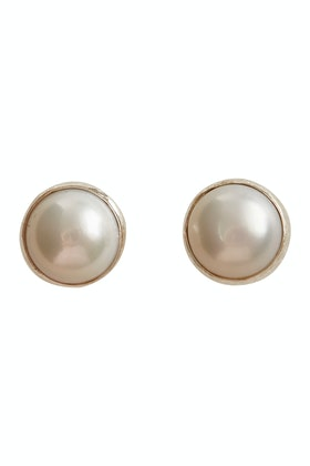 Lush Designs Bezel Pearl 6mm Stud Earrings