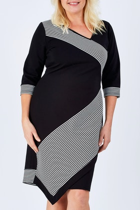 bird keepers The Contrast Striped Ponte Dress