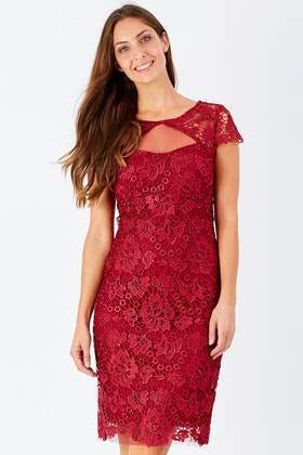 Mei Mei Lace Mesh Panel Dress