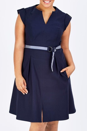 Sacha Drake Fit & Flare Belted Dress