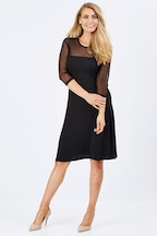 Y 3/4 Sleeve Dress With Mesh