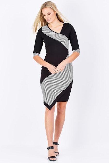 e015ddf16bab bird keepers The Contrast Striped Ponte Dress - Womens Knee ...