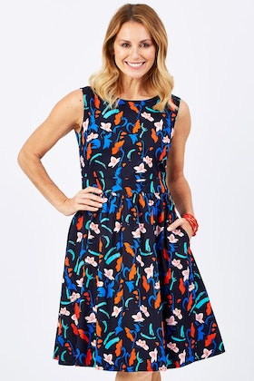 that bird label Beth Fit And Flare Dress Botanical