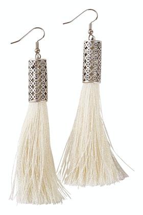 Isle & Tribe Allegra Silver Tassel Earrings
