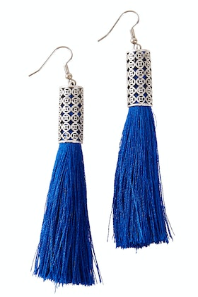 Isle & Tribe Allegra Silver Tassel Earrings