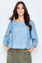 Only Frill Long Sleeve Denim Top
