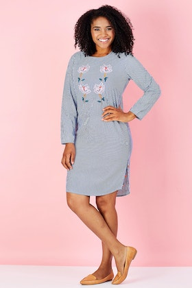 handpicked by birds Stripe Floral Tunic Dress