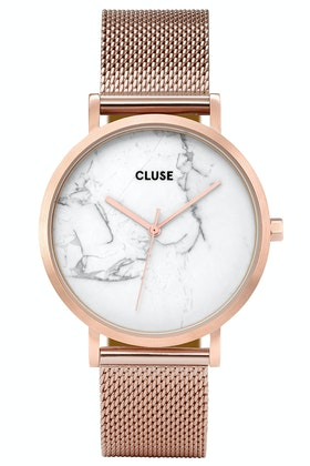 Cluse Watches La Roche Mesh Rose Gold White Marble Watch
