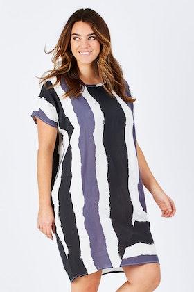 Tirelli Contrast Diagonal Insert Dress