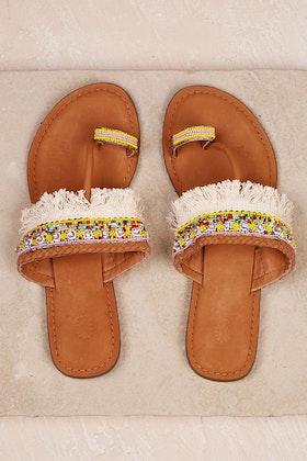 Ruby Yaya 100's And Tassels Flat Sandal