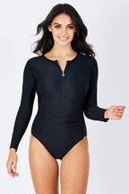 Capriosca Zip Front Long Sleeve One Piece