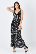 Sass Feather Foil Trim Maxi Dress