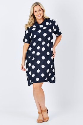 See Saw Spot Cowl Neck Dress