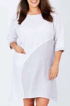 See Saw 3/4 Sleeve Spliced Dress