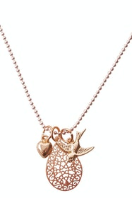 Belle Pendant And Swallow Mini Cluster Necklace