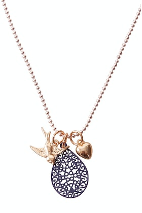 Nest Of Pambula Blue Belle Pendant And Swallow Mini Cluster Necklace