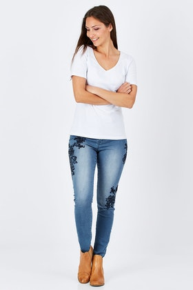 Jump Embroidered Jean