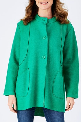 See Saw Collarless Button Through Coat
