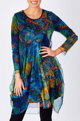 Orientique Mesh Print Dress