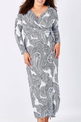 Belle bird Belle Paisley Print Maxi Wrap Dress