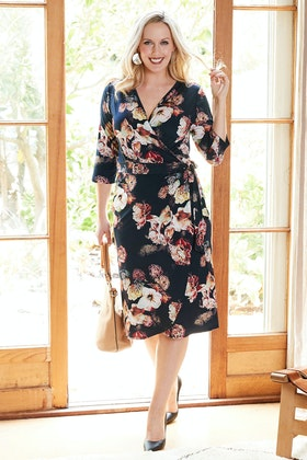 Belle bird Belle Winter Botanical Wrap Dress