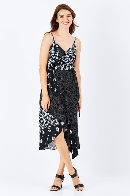 1ecc8f6a1f1d Sass clothing Spliced Floral Wrap Dress - Womens Calf Length Dresses -  Birdsnest Australia