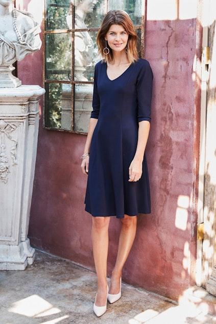 2e1c2bd4290a bird keepers The V Neck Ponte Dress - Womens Knee Length Dresses ...