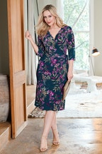 Belle bird Belle Orchid Print Wrap Dress