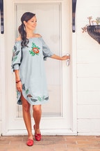 handpicked by birds Off Shoulder Embroidered Dress