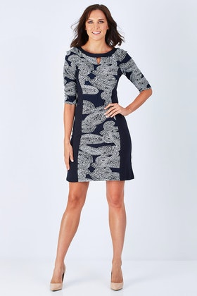 Rebecca Ruby Shannon Spliced Dress