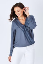 Sass Dahlia Lace Trim Blouse