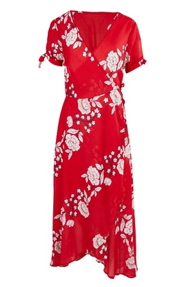 Spicy Sugar Red Floral Wrap Dress