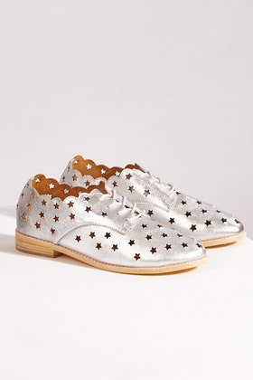 Walnut Olive Star Leather Lace Up Flat