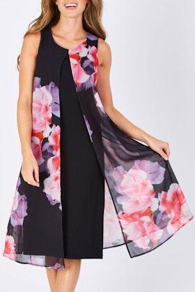 Nest Picks Black Floral Front Split Shift Dress