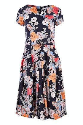 #<Brand:0x0000001cfd7f20> Delilah Navy Floral Linen Dress