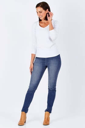 Vassalli Skinny Leg Pull On With Contrast Stitch