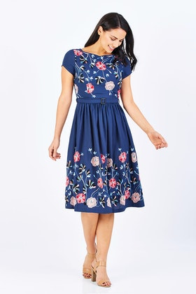 Elise Serenity Navy Embroidery Dress