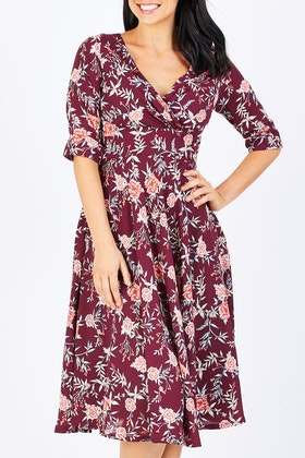 Elise Mackenzie Burgundy Floral Dress