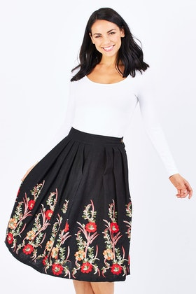 Elise Maci Black Embroidery Skirt