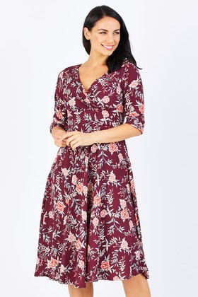 Elise Mackenzie Burgundy Floral Dress