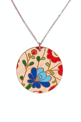 Dressed For Sunday Round Hand Painted Necklace